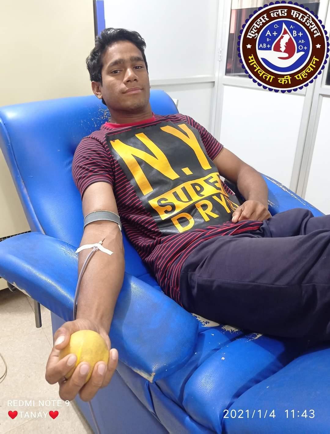 Tanay Sahu A Positive Blood Donor Mahasamund